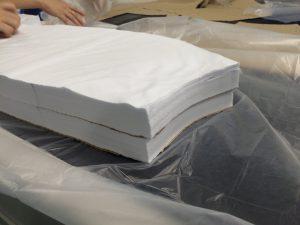ชิ้นงานหลังการตัดด้วย เครื่องตัดผ้าอัตโนมัติ เครื่องตัดผ้า